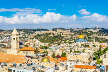 Cityspace of Jerusalem with dome of the rock and church of the redeemer, Israel