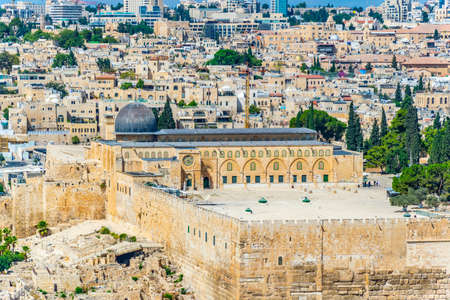 Aerial view of Al aqsa mosque in Jerusalem, Israel Stock Photo