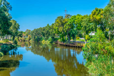Yarkon river pasing through Tel Aviv, Israel