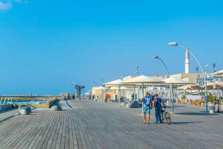 TEL AVIV, ISRAEL, SEPTEMBER 10, 2018: View of the old port of Tel Aviv, Israel Editöryel