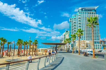 TEL AVIV, ISRAEL, SEPTEMBER 9, 2018: View of seaside promenade in Tel Aviv, Israel