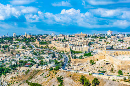 Al Aqsa mosque and the Franciscan monastery of dormition in Jerusalem, Israel Stock Photo