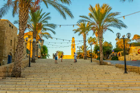 TEL AVIV, ISRAEL, SEPTEMBER 9, 2018: Staircase leading to the Saint Peter church in Jaffa, Tel Aviv, Israel 新聞圖片