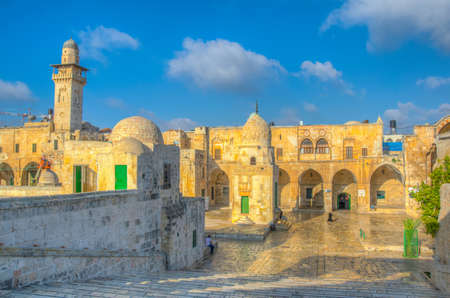 Bab Al Qattanin gate leading to the temple mount in the old town of Jerusalem, Israel Stock fotó