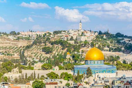 Gerusalemme dominata dalla cupola dorata della cupola della roccia, Israele