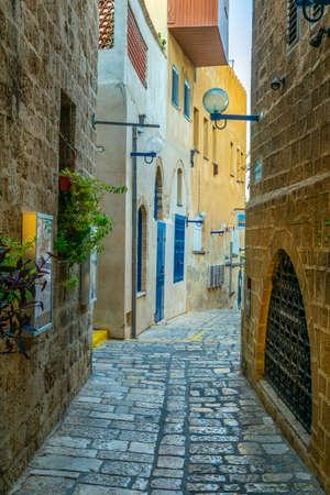 Narrow street in the old town of Jaffa, Tel Aviv, Israel Фото со стока