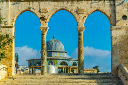 Famous dome of the rock situated on the temple mound in Jerusalem, Israel Imagens