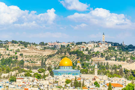 Jerusalem dominated by golden cupola of the dome of the rock, Israel