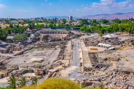 Aerial view of Beit Shean roman ruins in Israel Stock Photo