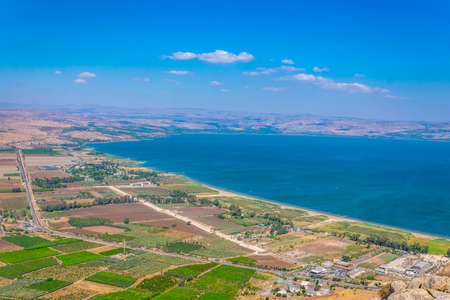 Sea of Galilee viewed from mount Arbel in Israel 版權商用圖片