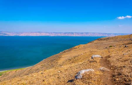 Sea of Galilee viewed from mount Arbel in Israel Standard-Bild