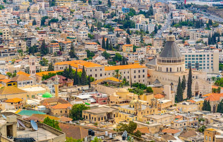 Cityscape of Nazareth with Basilica of the annunciation, Israel