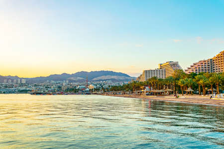 Sunset view of a beach in Eilat, Israel