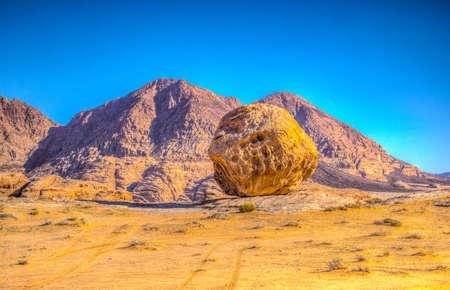 Round rock formations at Wadi Rum desert in Jordan