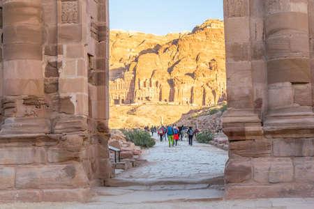 Temenos gateway in front of the Qasr al Bint in Petra, Jordan