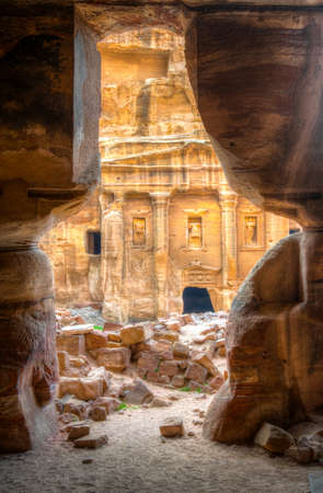 Roman Soldier's tomb viewed from garden tomb at Petra, Jordan