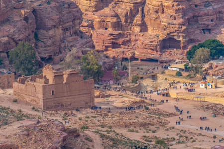 Al Habis mountain behind Qasr al Bint in Petra, Jordan