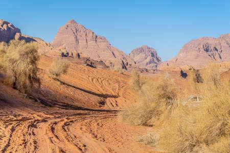 View of a sand dune at Wadi Rum, Jordan