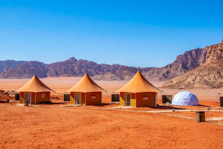 Luxurious tourist camping at Wadi Rum, Jordan Stok Fotoğraf