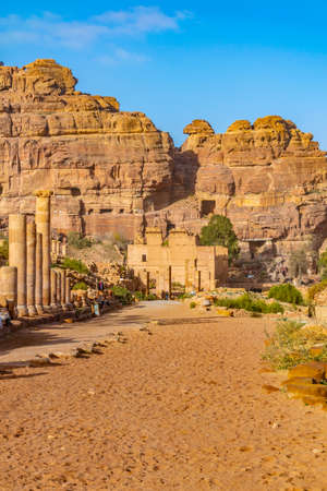 Colonnaded street leading to the Qasr al Bint in Petra, Jordan Stock Photo