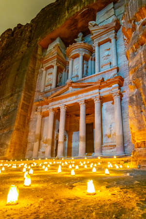 Petra by night tour featuring illuminated Al Khazneh tomb also called Treasury at Petra, Jordan