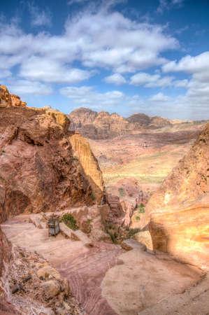 Steep staircase leading to al khazneh viewpoint at Petra, Jordan