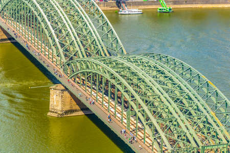 Aerial view of Hohenzollern bridge over Rhein, Germany