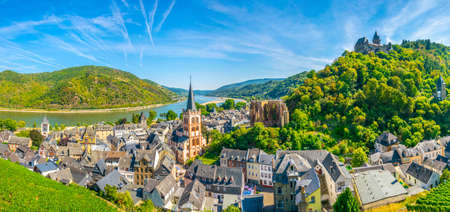 Aerial view of Bacharach from Postenturm, Germany