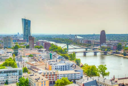 Aerial view of Frankfurt dominated by the new headquarters of ECB, Germany Imagens