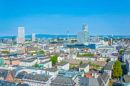 Aerial view of center of Frankfurt, Germany