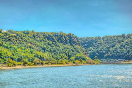 Falaise de Lorelei sur le Rhin en Allemagne. Banque d'images