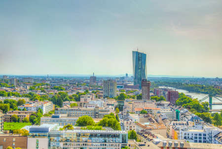 Aerial view of Frankfurt dominated by the new headquarters of ECB, Germany Фото со стока