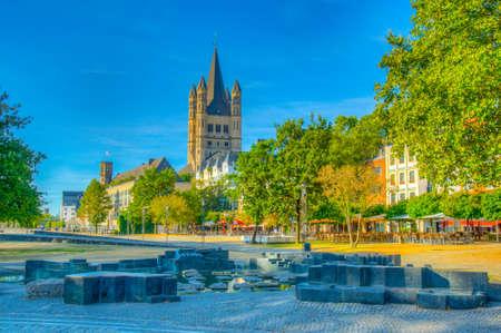 Riverside promenade and Saint Martin church in Cologne, Germany Reklamní fotografie