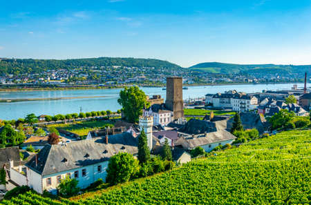 Aerial view of Ruedesheim am Rhein in Germany