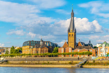 Riverside of Rhein in Dusseldorf with Saint Lambertus church, Germany