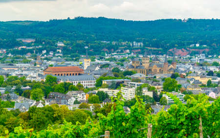 Aerial view of Trier from Petrisberg hill, Germany