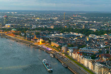 Aerial view of riverside of Rhein in Dusseldorf with Saint Lambertus church, Germany Imagens
