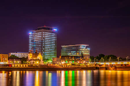 Night view of Kennedy quay in Cologne, Germany