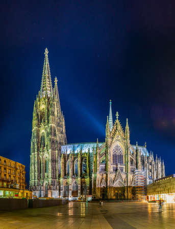 Night view of the cathedral in Cologne, Germany