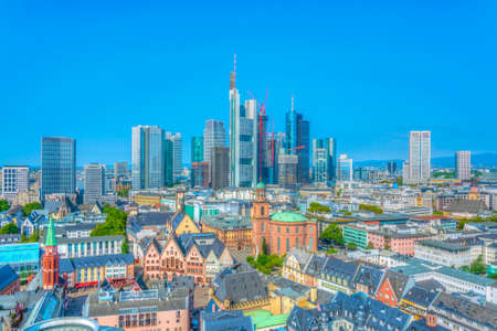 Skyscrapers of financial center of Frankfurt viewed behind Paulskirche church, Germany Stock Photo