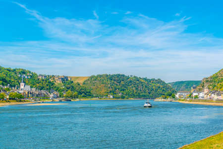 River Rhein between St. Goar and St. Goarshausen in Germany Фото со стока