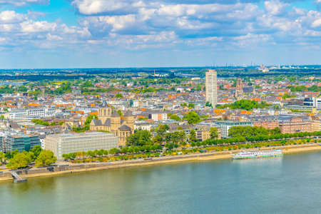 Aerial view of Saint Kunibert church in Cologne, Germany
