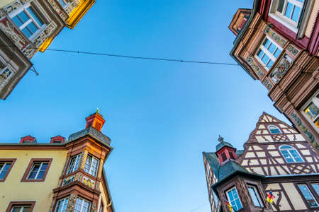 Colorful facades of historical houses in Koblenz, Germany