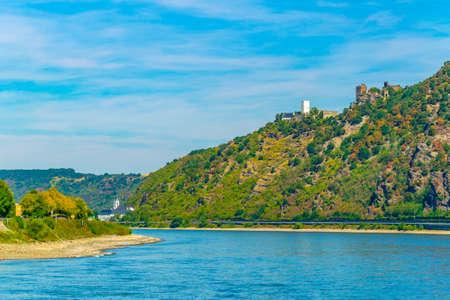 Burg Liebenstein overlooking Rhein river in Germany