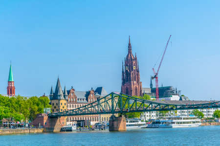 FRANKFURT, GERMANY, AUGUST 18, 2018: Historical museum, Imperial Cathedral of Saint Bartholomewand the old bridge in Frankfurt, Germany Stock Photo
