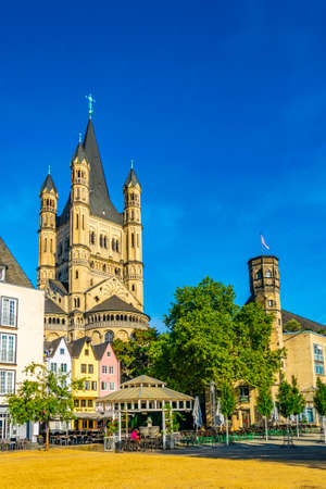 Colorful facades and spire of the Saint martin church in cologne, Germany Reklamní fotografie