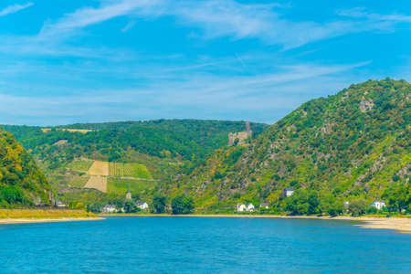 Burg Maus overlooking Rhein river in Germany Stock Photo