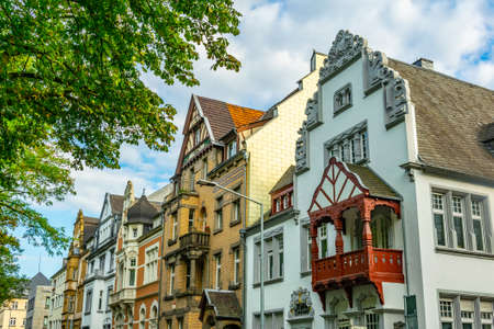 Colorful facades of traditional houses in trier, Germany