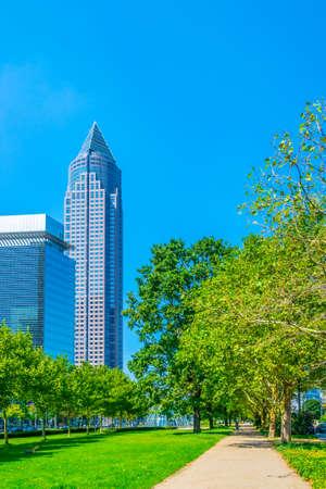 Cityscape of Frankfurt with Messeturm, Germany Stock Photo