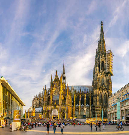 COLOGNE, GERMANY, AUGUST 11, 2018: People are admiring the cathedral in Cologne, Germany